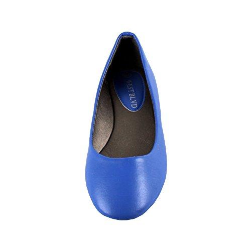 Kvinnor Ny Dev-9 Rund Tå Balett Lägenheter Ballerina Löper Liten Överväga Att Gå En Storlek Större Blue Pu