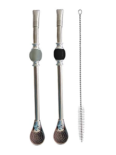 Balibetov [NEW] Premium big Yerba Mate stainless steel straw - Bombilla for mate gourd drinking, with removable head filter - Set of 2 with Cleaning Brush -8.5'' long (22 cm) (Gray - Black)