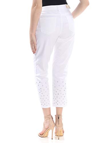 Michael Kors Womens Izzy Skinny Leg Cropped Cropped Jeans White -