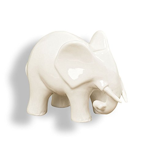 The Elegant Elephant, White Porcelain Figurine, 6 1/4 Inches Long, By Whole House Worlds