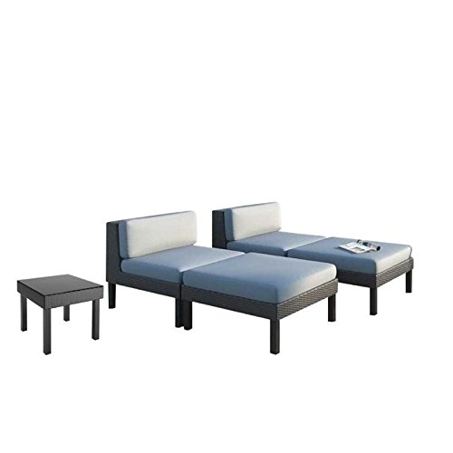 Home Square 5 Piece Patio Furniture Set with Set of 2 Arm Chairs & Ottoman Loungers and Side Table in Gray and Black Upholstery Square Weave