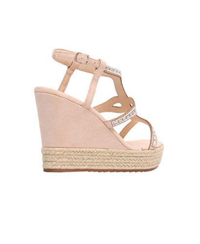 Women Wedge High Heel Platform Bling T-Bar Espadrilles Sandals Summer Shoes 3-8 Nude KuXhSG2Ye6