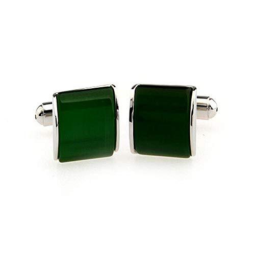 Emerald Stud Cufflinks - Emerald Green Cufflinks 2PC Men's and Women's Exquisite Bright Shirt Decoration Gifts Set with Gemstone Brass Cufflinks