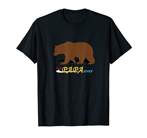 Mens Best Papa Ever Gift from daughter and son Mens Funny Bear T-Shirt