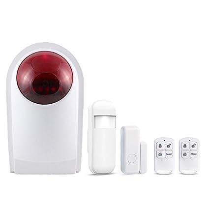 Juego de Sirenas de Alarma para Exteriores con Sensor de Puerta, Detector de Movimiento,