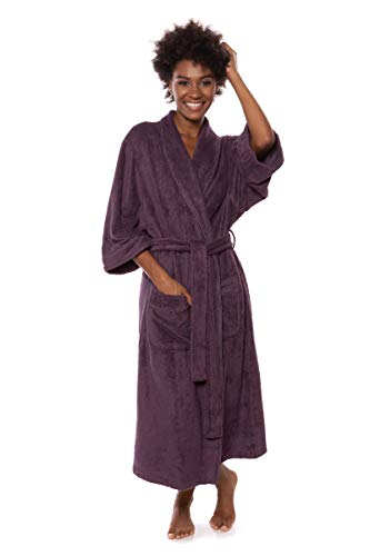 Women's Luxury Terry Cloth Bathrobe - Bamboo Viscose Robe by Texere (Ecovaganza, Black Plum, 2X/3X) for Wife Mom Sister WB0101-BPL-2X3X