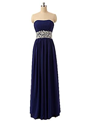 Fanmu Strapless Beaded Waist Long Chiffon Bridesmaid Dresses Prom Gown