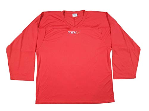 Practice Hockey Jersey - Adult/Senior mesh, Breathable Solid Color Hockey Jersey (Medium, Red)