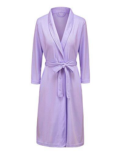 Bath Robe for Womens Soft Kimono Bathrobe Waffle Weave Knee-Length Hotel Spa Robe Lightweight Dressing Gown Purple