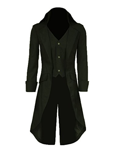 Halloween Victorian Costumes (Very Last Shop Mens Gothic Tailcoat Jacket Black Steampunk Victorian Long Coat Halloween Costume (US Men-S, Dark Green))