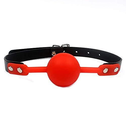 Tabuy PU Leather Paly Buckle Belt Silicon Mouth Ball Open Breathable Mouth Gag For Men Woman (Red)