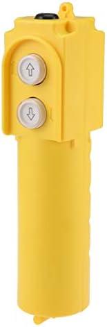 uxcell ホイスト押しボタンスイッチ 防雨ホイストクレーンペンダント コントロールステーション アップダウン イエロー