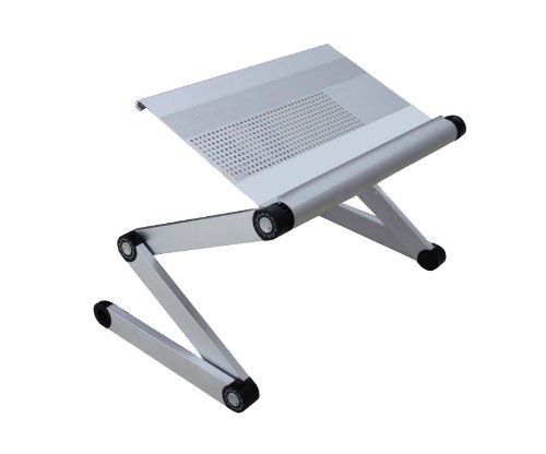 FURINNO Adjustable Vented Laptop Table/Portable Bed Tray Book Stand Dual Layer Tablet, 17-Inch, Silver, Best Gadgets