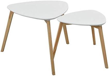 FurnitureR Mesa de café Juego de 2 Mesa triangular de anidamiento ...