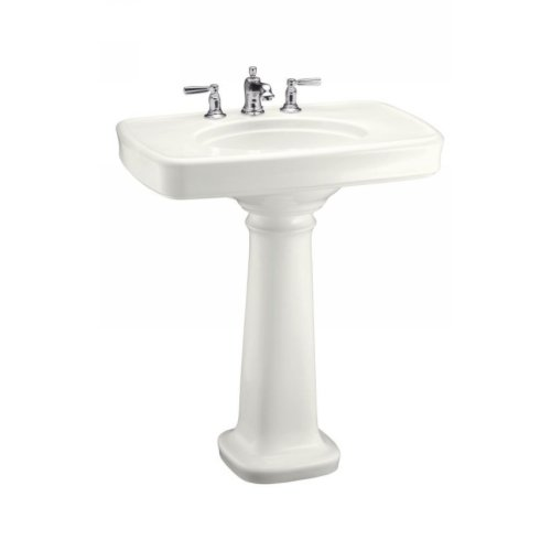 Bancroft Single Hole - KOHLER K-2347-1-0 Bancroft Pedestal Bathroom Sink with Single-Hole Faucet Drilling, White