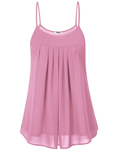 Hibelle Pink Chiffon Tank, Womens Cute Tanks Tops Graceful Strappy Round Neck Summer Casual Wear Pleated Ruffle Camis Bright Fantastic Attractive Basic Camisole Form Fitting Blouse XL
