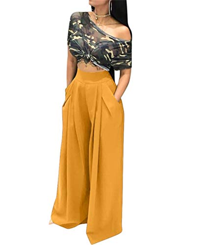(LROSEY Women's Stretchy Solid Color High Waisted Wide Leg Palazzo Pants with Pockets Yellow)