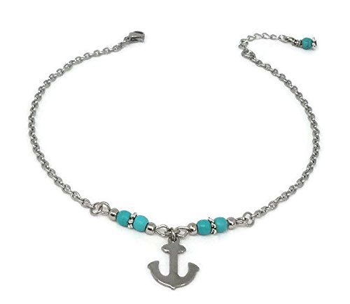 Anchor Anklet with Turquoise Beads - Ankle Bracelet - Holiday, Vacation, Beach Jewelry