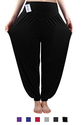 Workout Baggy Pants - fitglam Women's Soft Modal Yoga Harem Pilates Pants Long Baggy Sports Workout Dancing Trousers Black X-Large
