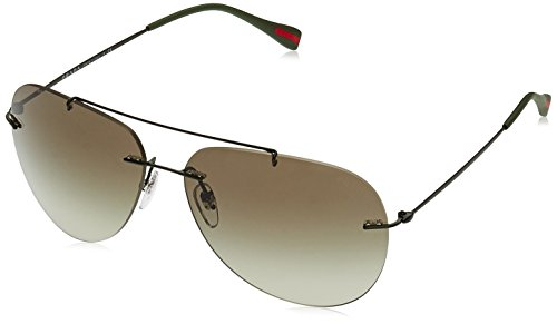 Prada RED FEATHER PS50PS Sunglasses ROV4M1-63 - Military Green Demi Shiny Frame, Green - Prada Red