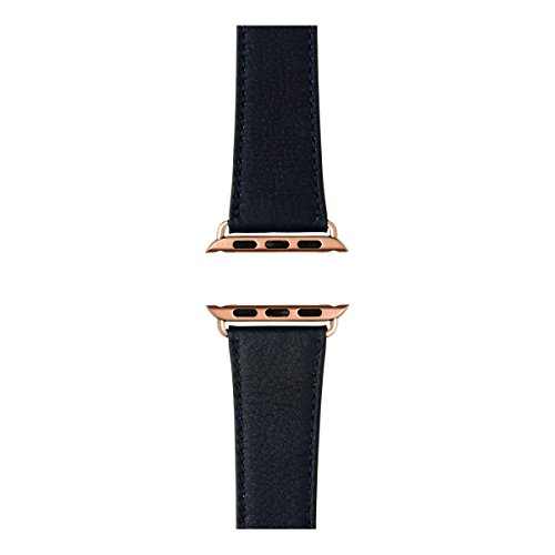 Roobaya   Premium Sauvage Leather Apple Watch Band in Dark Blue   Includes Adapters matching the Color of the Apple Watch, Case Color:Rose Gold Aluminum, Size:38 mm by Roobaya (Image #3)