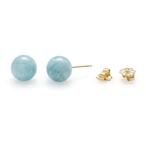 14K Yellow Gold Genuine Milky Aquamarine Blue Gemstone Stud Earrings