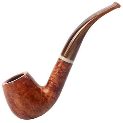 LP-LLL Wooden Tobacco Smoking Pipe - Tobacco Pipe,Fits 9mm Filter,Classical raditional Style Handmade Tobacco Smoking Pipe Bent Round,Business Gift High-end Quality