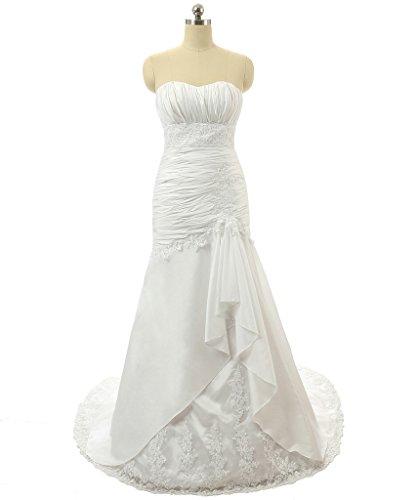 Vantexi Women's Strapless Taffeta Mermaid Wedding Dress Bridal Gown Ivory 30