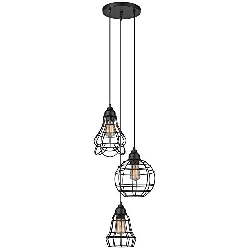 (Globe Electric Jorah 3-Light Cage Cluster Pendant, Oil Rubbed Bronze Finish, 3X Medium Base 60W Bulbs (Sold Separately), 65624)