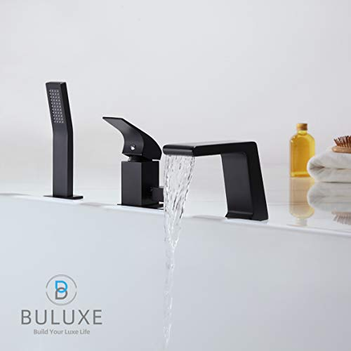 - BULUXE Waterfall Tub Filler Faucet with Hand-Held Shower Head.Widespread Bath Tub Faucet Set, Deck Mount 3-Holes Single-Handle Faucet Modern in Matte Black