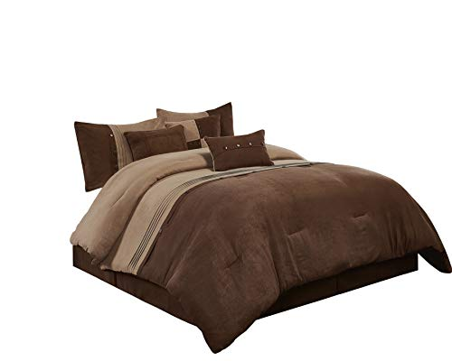 Chezmoi Collection Chandler 7-Piece Western Lodge Micro Suede Comforter Set (King, Brown), Coffee