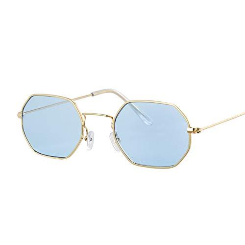 Lentille Dames Pour Yuhangh Gold Femmes Rouges Luxe Petit Miroir Soleil De Blue Vintage À Plate Lunettes gxgqvO8