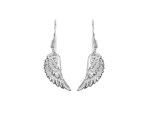 Angel Earrings Sterling Silver Feather Textured Wing Drop Earring with Euro Wire Clasp - Euro Wire