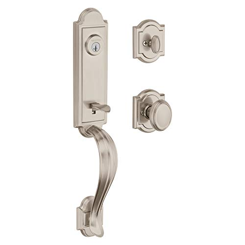 - Baldwin Avendale Single Cylinder Front Door Handleset Featuring SmartKey Security in Satin Nickel, Prestige Series with Traditional Door Hardware and Carnaby Knob