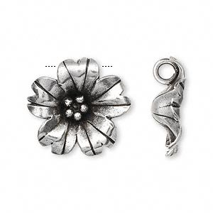 Tribe 20mm Hill Silver (Charm Hill Tribes antiqued fine silver 20mm flower)