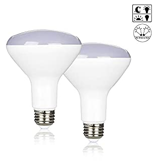 Yueximei 10W Dusk to Dawn BR30 LED Light Bulb, 60W Equivalent, Soft White 2700K, 850 Lumens, E26 Base, 120V, Not-Dimmable, Auto On/Off, for Indoor and Outdoor, 2 Pack
