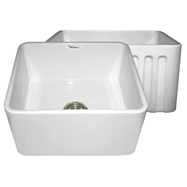 Whitehaus WHFLPLN2018 20  Reversible Series Fireclay Sink with Smooth Front Apron One Side and Fluted Front Apron on Opposite Side
