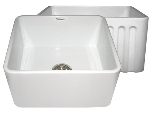 Undermount Whitehaus Fireclay Sink - Whitehaus WHFLPLN2018 20-Inch  Reversible Series Fireclay Sink with Smooth Front Apron One Side and Fluted Front Apron on Opposite Side