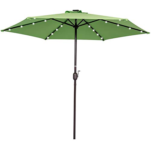 Sundale Outdoor 9FT Solar Powered 24 LED Lighted Patio Umbrella Table Market Umbrella with Crank for Garden, Deck, Backyard, Pool, 6 Steel Ribs, 100 Polyester Canopy, No Tilt Lime Green