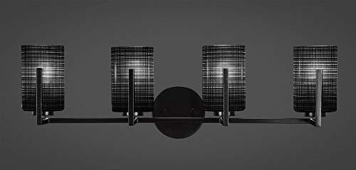 Toltec Lighting 4514-MB-4069 Atlas - Four Light Bath Bar, Matte Black Finish with Black Matrix Glass