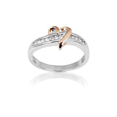 Amazon Sterling Silver Rose Gold Heart and CZ Band Ring Jewelry