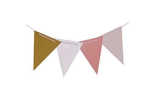 10 Ft Sparkly Paper Pennant Bunting Banner Triangle Flags 16 pcs for Vintage Wall Decoration Wedding Birthday Party Decor Home decor Halloween Decor (Glitter Gold+Silver+Pink+White) (Wow Halloween Event 2017)