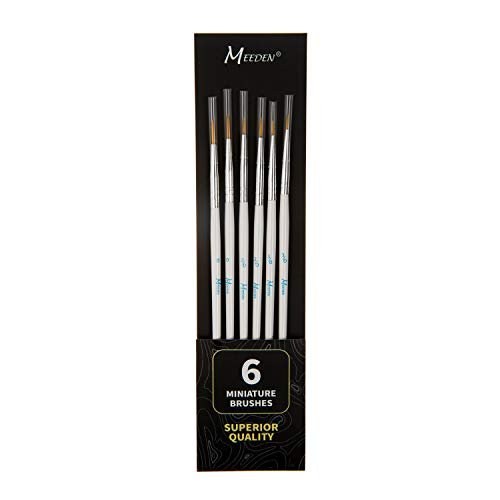 MEEDEN Detail Paint Brush Set - 6 Miniature Art Brushes for Fine Detailing & Art Painting - Acrylic, Watercolor, Oil - Miniatures, Models, Airplane Kits, Nail(Nylon Hair)