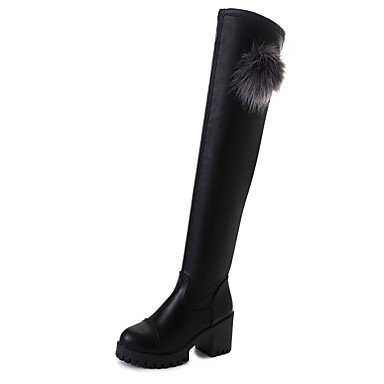 Heart&M Mujer Zapatos PU Otoño Invierno Confort Botas Tacón Robusto Sobre la Rodilla Para Casual Negro