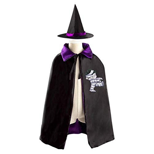 69PF-1 Halloween Cape Matching Witch Hat Cartoon Mummy Logo Wizard Cloak Masquerade Cosplay Custume Robe Kids/Boy/Girl Gift Purple