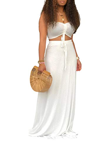 (Ophestin Women Sexy Tube Ruched Tie Crop Top Long Skirt Summer Bodycon 2 Piece Outfits Maxi Dress Set White XL)