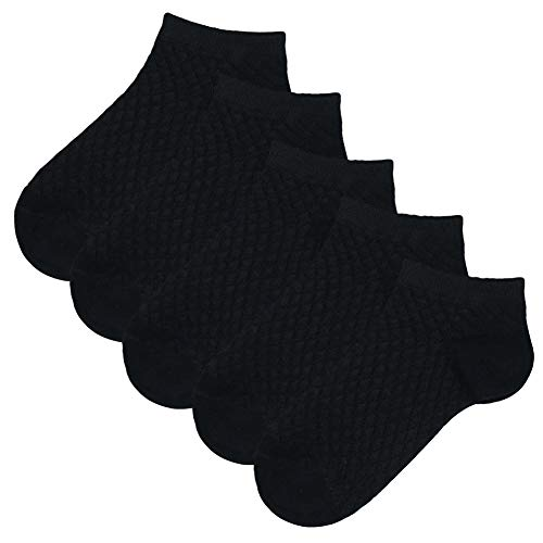 (Looching Pack of 5 Mesh Thin Baby Girls Boys Cotton White Socks Toddler Kids No Show Ankle Socks 1-10T ... (Black, 6-8)