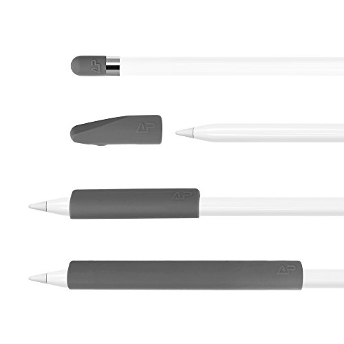 Price comparison product image Lightning Power - Set of 4 Premium Silicone Made Pencil Sleeve Cap Saver Holder for Apple Pencil (Gray)