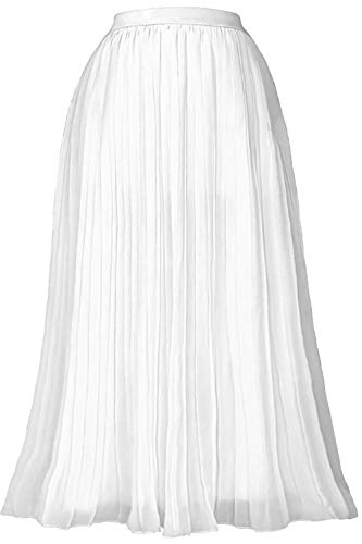 Gemolly Women's High Waist Pleated Skirt Vintage A-Line