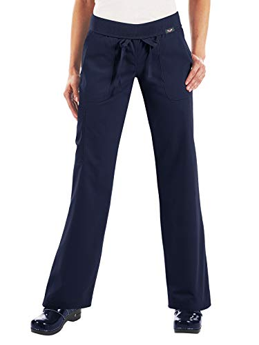 KOI Women's Morgan Ultra Comfy Yoga-Style Cargo Scrub Pants with Rib-Knit Waist, Navy, Medium